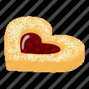 bagel, cheesecake, cookie, heart, isometric, logo, object