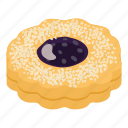bagel, biscuit, cheesecake, isometric, jam, logo, object