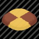 biscuit, cheesecake, chocolate, isometric, jam, logo, object