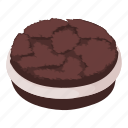 biscuit, cheesecake, isometric, jam, logo, object, oreo
