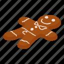 bread, cake, gingerbread, isometric, logo, man, object