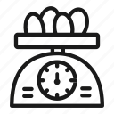 bakery, baking, cooking, egg, scale, tool, weight icon