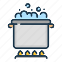 boil, boiling, cook, cooking, food, pan, water icon