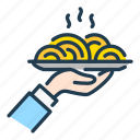 food, hand, order, pasta, plate, serving icon