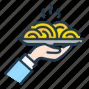food, hand, order, pasta, plate, serving