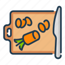 carrot, cooking, food, cutting, knife, cut, board icon