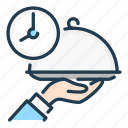 cooking, food, hand, serving, time icon