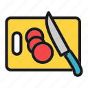 cooking, cutting, kitchen, tomato, vegetable icon