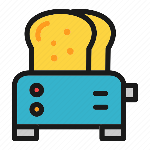 bread, breakfast, cooking, kitchen, loaf, toaster, toasting icon