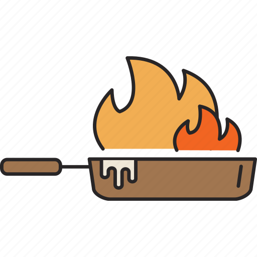 fire, flambe, food, hot, meal, pan icon