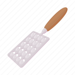 cartoon, cheese, grater, single, stainless, tool, utensil icon