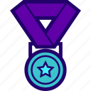 achievement, medal, participation, prize, reward icon