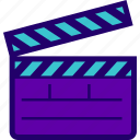 action, clapper, clapperboard, film, movie icon