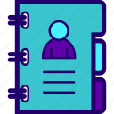 adress, adressbook, book, contacts, notebook, numbers icon