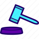 auction, case, closed, court, gavel, judge icon