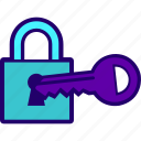 key, lock, open, opening, padlock icon