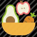 apple, avocado, carrot, food, fruits, healthy, salad icon