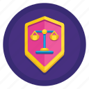 balance, defense, justice, law, shield icon