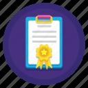 achievement, award, clipboard, initial filing