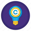 copyright, copyrighted, idea, invention, light bulb, patent icon