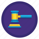 gavel, hammer, judge, law, legal icon