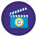 clapperboard, copyright, motion, motion picture copyright, picture icon
