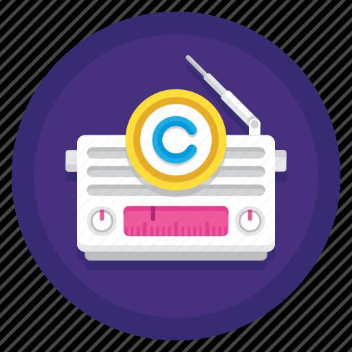 broadcast, copyright, radio, radio broadcast copyright icon