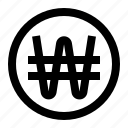 coin, outlined, won icon