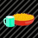 bowl, corn, cup, food, porridge icon