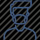 line, man, mask, person, profile
