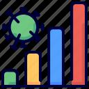 bar, chart, coronavirus, graph, growth, trend, virus icon