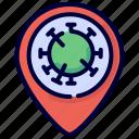 corona, covid, location, outbreak, pin, sick, virus icon