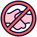 coronavirus, covid, handshake, no, protection, transmission, virus icon