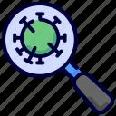 coronavirus, covid, medical, search, virus icon