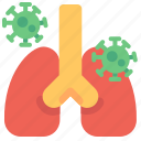 bacteria, cancer, invection, lung, lungs, pneumonia, transmission icon