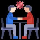 communication, coronavirus, man, meeting, talking icon