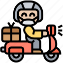 courier, services, delivery, scooter, mailman