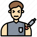 healthcare, inject, injection, male, medical, syringe, treatment icon