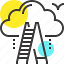 achievement, business, career, cloud, growth, ladder, success icon
