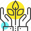 expand, flower, growth, hands, investment, nature, plant icon