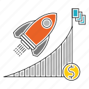advancement, career, dollar, flag, graph, recket, report icon