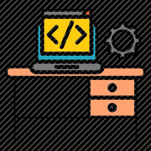 business, code, corporate, development, gear, workplace icon