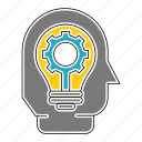 business, corporate, efficiency, gear, head, idea, lamp icon