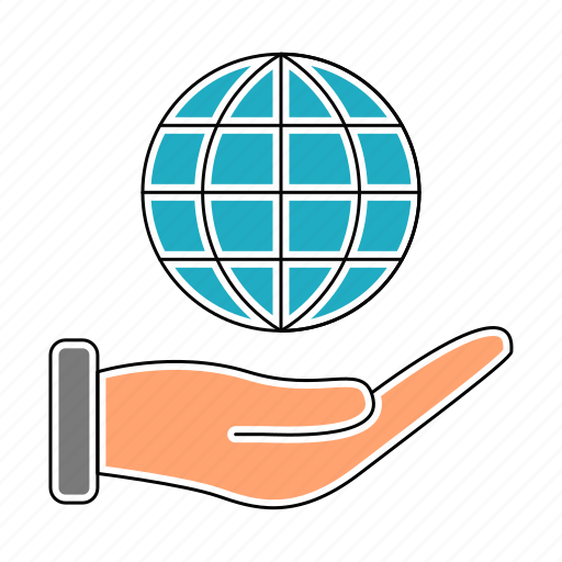 business, corporate, finance, global, hand, world icon