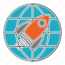 globe, launch, mission, rocket, seo, travel, world icon