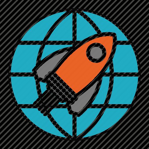 globe, launch, mission, rocket, seo, travel, world icon