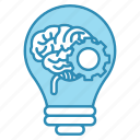 brain, brainstorm, bulb, corporate business, gear, idea icon