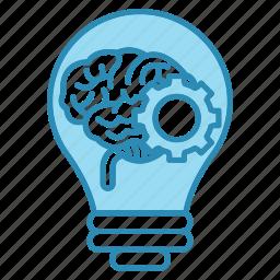 brain, brainstorm, bulb, corporate business, gear, idea icon
