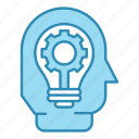 bulb, corporate business, efficiency, gear, head, idea, seo icon