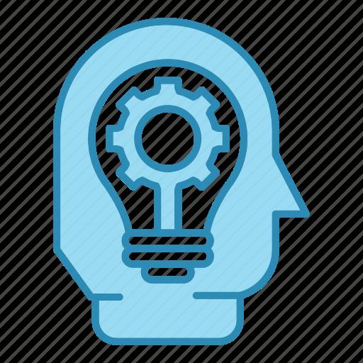 bulb, corporate business, efficiency, gear, head, idea, seo icon